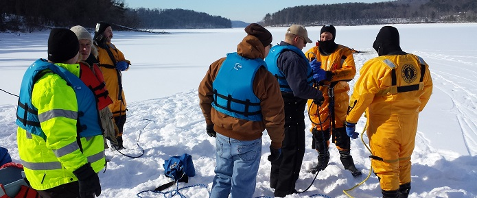 MWCD Rangers training with new ice rescue equipment